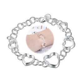 $enCountryForm.capitalKeyWord NZ - Love Five Heart Charms Bracelet Women Romantic Gifts Silver Plated Jewelry 20CM Rolo Chain Cute Bracelet Top Quality Valentine's Day Present