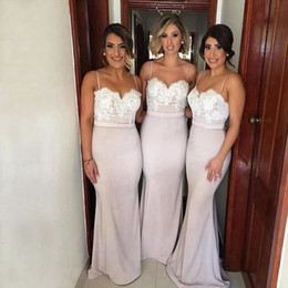 Chinese  Hot Sale Sweetheart Spaghetti Straps Long Cheap Bridesmaid Dresses 2017 Floor Length Low Back Lace Satin Mermaid Bridesmaid Dress manufacturers