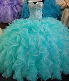 Boule De Tulle De Cristal Pas Cher-Turquoise Quinceanera Robes Sequins Perles Sweetheart Ball Gown Prom Robe Robes formelles Puff Sweet 16 vestidos de 15 anos Princesse