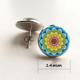 Animal Geometry Canada - vintage bohemian style women drop earrings Sacred geometry mandala art flower budhism charm dangle earrings jewelry