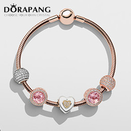 925 button NZ - DORAPANG NEWEST 100% 925 Sterling Silver Rose gold bracelet Classic good buttons suits Clear CZ Charm Bead fit Bracelet DIY For Jewelry