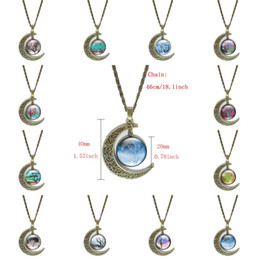 $enCountryForm.capitalKeyWord Canada - 12 Colors Vintage Moon Bronze Necklace Starry Moon Outer Space Universe Necklaces Pendants Charm Accessories Tree Of Life C188S