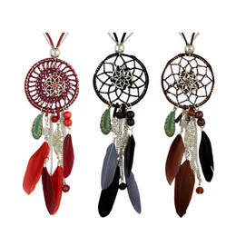 silver dreamcatcher necklace Australia - idealway 4 Colors Bohemian Fashion Silver Plated Leather Double Chain Resin Feather Tassel Dreamcatcher Pendant Necklace