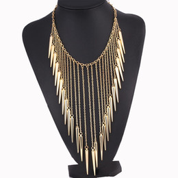 Chinese  Wholesale- Find Me 2017 brand fashion punk rivet power boho long tassels collar choker necklace vintage chain choker necklace women Jewelry manufacturers