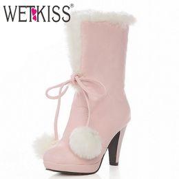 0eab0eca3 Al por mayor-grande tamaño 34-43 Sweet Fur Ball Top nudo Warm White fur Boots  tacones altos botas de nieve para mujeres plataforma botas cortas zapatos  de ...