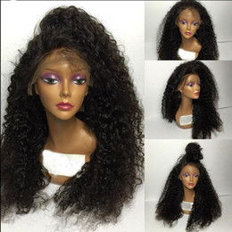 european curly lace wig Canada - Afro Kinky Full Lace Human Hair Wigs For Black Women Brazilian Virgin Glueless Full Lace Wigs Afro Kinky Curly Lace Front Wig