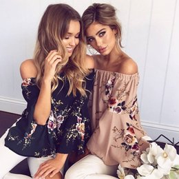 Xl Gril Pas Cher-Summer Fashion Women Off Shoulder Chiffon Blouse imprimé floral Gril's Casual Flare Sleeve Cool Chemises ZL3179