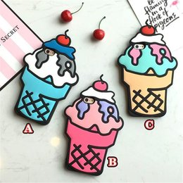 Iphone Back Hot Pink Australia - Fashion Cartoon 3D Ice Cream Soft Silicon Phone Back Cover Silicone Phone Case For iPhone 5S SE 6 6S 7 7 Plus Hot