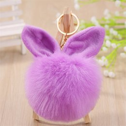 photo ears NZ - Pompon Phone Car Key Pendant montre femme Rabbit Ears Women Bag Pendants Rabbit Fur Ball Keychain Jewelry Accessories Wholesale
