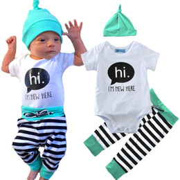 Wholesale hi hats for sale – custom Newborn Baby Boys Girls Clothes Set T Shirt Letter Hi Tops Long Pants Striped Hat Baby Boys Outfits Set