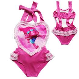 Wholesale bikini pool girl online – Girls Trolls Swimsuit Trolls Princess One Pieces Bikini Summer Lace Love Heart Swimwear Baby Swimwear Beach Pool Bath Beachwear