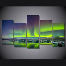 lighted canvas art Canada - 5 Pcs Set Framed HD Printed Strange Lights Sight Picture Wall Art Canvas Print Room Decor Poster Canvas Painting Wall