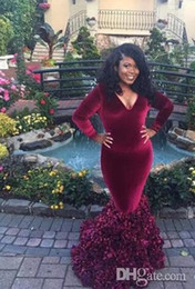 ef680b31f8b African Burgundy Long Sleeves Evening Gowns Deep V Neck Ruffles Plus Size  Prom Dress Floor Length Mother Of The Bride Dress