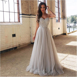 $enCountryForm.capitalKeyWord Australia - Charming Sweetheart Sliver Rhinestones Long Prom Dresses Evening Party Dress Straps Tulle Crystals Beaded Vestido De Festa Prom Gowns