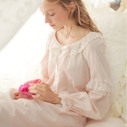 Wholesale- Free Shipping 100% Cotton Princess Nightdress Women s Long  Nightgown 3 Color Pijamas Royal Sleepwear pijamas femininos verao cc6cdb847