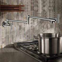 Nickel Kitchen NZ - Brushed Nickel Brass Pot Filler Kitchen Faucet Wall Mounted Single Cold Tap Swing Spout Free Shipping