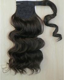 $enCountryForm.capitalKeyWord Australia - body wavy pony tail hairpiece drawstring clip in wraps around ponytail hair extension natural color 100g 120g 140g