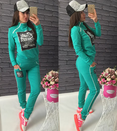 Barato Senhoras Lazer Desporto Terno-Camisola + Calças 2 Pieces Set Spring New Women Lovely Sporting Tits para Ladies Leisure Tracksuit