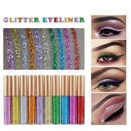 Toptan satış HANDAIYAN Glitter Likit Eyeliner Kalem 10 Renkler Metalik Göz Farı Liner Shine