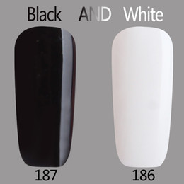 Barato Led Gel Lamp Venda-Atacado- 2017 Gel Polish Verniz UV LED preto e branco Série de cores UV Gel Base Top Coat UV Lâmpada Nail Art Design Hot Sale Gel de unhas