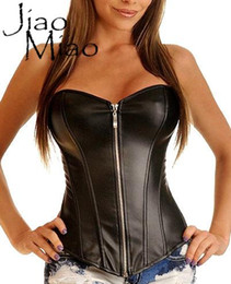 miao clothes clothing Australia - Jiao Miao Sexy Zipper Gothic Leather Clothing Body Shapers Sexy Steampunk Plus Size 6XL Women Waist Trainer Corsets And Bustiers