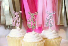 $enCountryForm.capitalKeyWord NZ - custom personality Glitter Ballet Slipper Cupcake Toppers girl baby shower baptism wedding Ballet Birthday, Party Supplies Party Decor