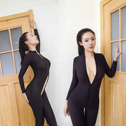Barato Catsuit Preto Com Zíper-Mais novo Black Sexy Bodystockings Open Crotch Full Bodysuit Stretchy Nylon Jumpsuit Mulheres Zipper Catsuit Lingerie