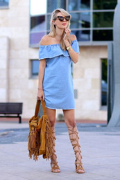 Barato Vestidos Para Mulheres Xl-Denim Off The Shoulder Shirt Dress 2016 Mulheres Sexy Bowknot Button Ruffle Jeans Mini Dress Bardot Tunic Casual Holiday Dress, Denim Off The Sh