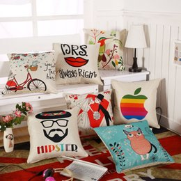 Chinese  18*18 inches office lip animal cushion cover co tton Linen Fashion Cushion Covers Decorative Chair sofa car Squre Throw Pillow case Home Dec manufacturers