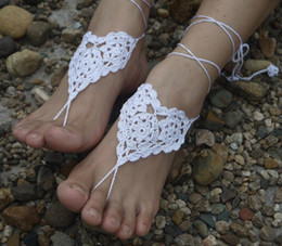 $enCountryForm.capitalKeyWord Australia - Hot Sale Beach wedding Foot ornaments White Flower Handmade pure Cotton Flower Crochet Barefoot Sandals women foot Jewelry Ankle P1280414