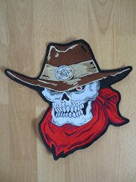 a2eda8b3b57 Large Skull Patch Canada - 11.6 inches Cowboy hat Skull with Red Scarf large  Embroidery Patches
