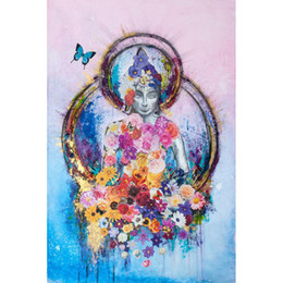 Buddhas Decor Canada - Buddha Butterfly 100% Full Drill DIY Diamond Painting Embroidery 5D Cross Stitch Crystal Home Bedroom Wall Decoration Decor Craft Gift