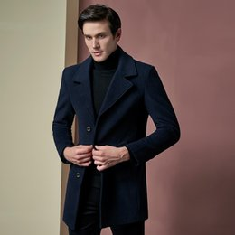 Trench-coat Personnalisé Pas Cher-Vente en gros - Custom made 2017 Fashion Man NavyCoats Mélanges de laine Single Breasted Slim Fit Pea Coat Hommes Long Trench Winter Overcoat