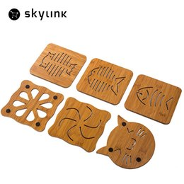 Square Kitchen Designs Australia - Wholesale- Skylink Table Mats Placemat Decoration Wood Kitchen Table Mats Dinning Table Cloth 8 Designs Insulation Pad Non-slip Mat Cup Mat