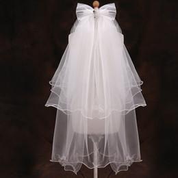 $enCountryForm.capitalKeyWord Canada - Cute Bowknot Tulle Crystal Flower Girl Wedding Veils Hair Bands Ruffles Princess Girls Children Kids Veil Wedding Accessories