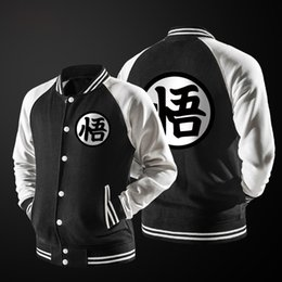 Moda Al Por Mayor Japonesa Baratos-Al por mayor-Nueva tendencia Primavera Negro Varsity Baseball Jacket Hombres / Boy Fashion Japanese Anime Dragon Ball Goku Bomber ligero chaqueta para DBZ