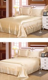 $enCountryForm.capitalKeyWord Australia - 4PCS Bed Sheet set Silk bedspread Bedding sets Satin Fitted sheets linen bedset California Super King Queen size full double