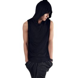 $enCountryForm.capitalKeyWord UK - Newest Mens Sleeveless Hoodie T-shirt Hooded Loose Tank Top Casual Solid Color Cotton Hoodies Tee FM00006