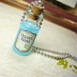 Cork Necklaces NZ - 12pcs lot Unicorn Blood necklace burned tag Cork glass Bottle Pendant