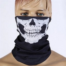 Bicycle Black Ghost Australia - Wholesale-Black Half Face Skull Skeleton Mask Outdoor Motorcycle Bicycle Multifunction Headwear Hat Scarf Neck Scary Halloween Ghost Mask