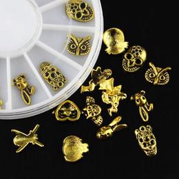 golden 3d nail art 2019 - Wholesale- 12 Pcs Box Owl Rabbit Skull Angel 3D Nail Art Decorations Glitter Golden Alloy DIY Tools For Charms Nails Whe