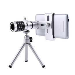 Black Telescope Canada - Freeshipping 12X Zoom Camera Telephoto Telescope Lens + Mount Tri Kit For iPhone Xiaomi Samsung Huawei HTC Universal