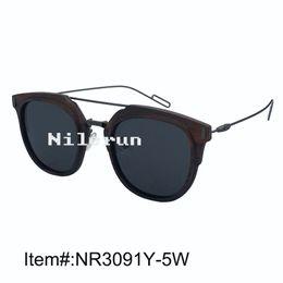 Big Nose Canada - Nilerun brand big round ebony wood frame sunglasses with matt gray metal temples and double nose bridges