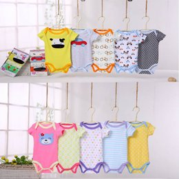 $enCountryForm.capitalKeyWord Canada - DHL free shipping 5 Pieces lot Fantasia Baby Rompers Infant Jumpsuit Overall Short Sleeve Body Suit Baby Clothing Set Summer Cotton