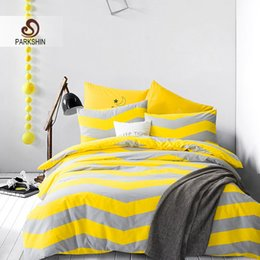 discount yellow striped sheets parkshin nordic style bedding sets 100 cotton duvet cover set yellow - Striped Sheets