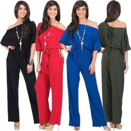 Pantalons Larges À Pattes Larges Pas Cher-Vente en gros - Jessie Vinson Mode Femmes Slash Neck Off Shoulder Jumpsuits Wide Leg Pants Rompers Solid Bandage Loose Long Costume