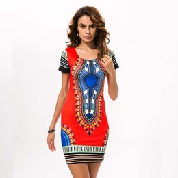 african summer traditional dresses Canada - Hot Sell Fashion Sexy Summer Women Traditional African Print Dashiki Bodycon Sexy Short Sleeve Mini Dress