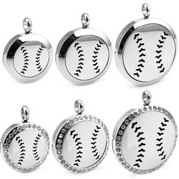 Baseball Gifts Canada - With Chain as gift Round Silver Baseball (30mm) Essential Oils Stainless Steel Necklace Perfume Diffuser Locket Aromatherapy Locket Necklace
