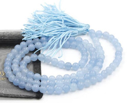 Buddhist Mala Necklace Canada - 8mm Tibet Buddhist 108 Blue Jade Prayer Beads Mala Necklace