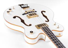 $enCountryForm.capitalKeyWord NZ - Custom G6136LSB White Falcon 4 Strings Electric Bass Guitar Ebony Fingerboard Gold Sparkle Body Binding Semi Hollow Body Double F Hole